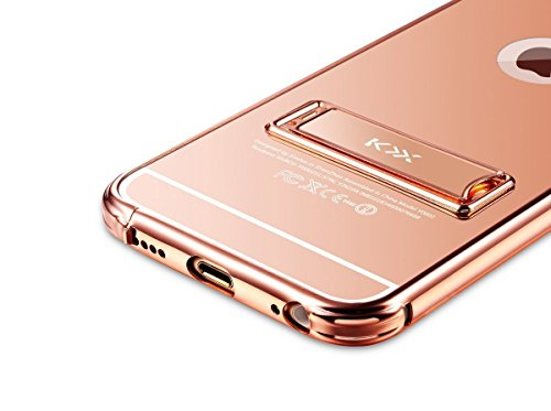 """Mirror Metal Bumper Case Cover, iPhone 6 Coque 4.7"""" Coque avec Stand Support Luxe Noble Metal Frame Etui, MOMDAD Housse iPhone 6 Coque 4.7"""" Case PC Soft Couvrir Back Cover Coquille Arrière Shell Houss Mirror--Champagne"""