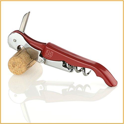 Naruba Premium 3-in-1 Kellnermesser mit Doppelhebel | Korkenzieher | Flaschenöffner | Kapselschneider | Weinmesser | Kellnerbesteck | Sommeliermesser | in div. Farben (Rot)