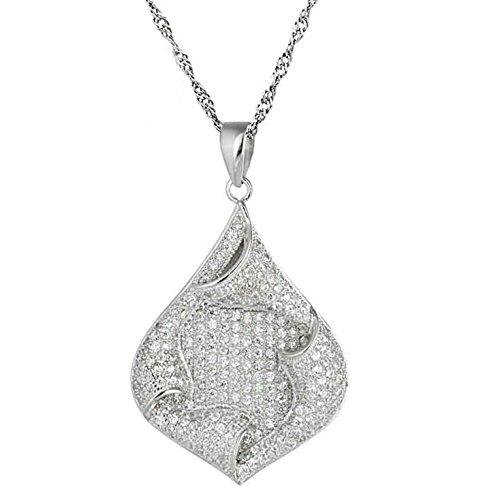 Epinki 925 Sterling Silber Damen Halskette, Träne Tropfen Form Anhänger Elegant Silberkette Damenkette Weiß 2.2x3.1 CM mit Zirkonia -