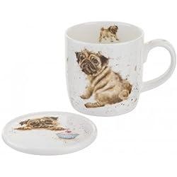 Wrendale por Royal Worcester taza y posavasos Pug amor perro, multicolor