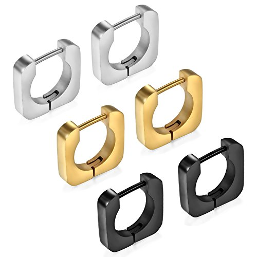 Cupimatch 3 Paare Edelstahl Männer Creolen Rechteck Ohrstecker Set für Herren Damen Hoop Ohrringe Ohr Huggie Piercing, schwarz gold silber
