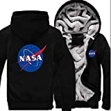 nveada Astronaut NASA Space Agency Winter Thicken Plus Velvet Zip Cardigan Hooded Sweater Men's Jacket