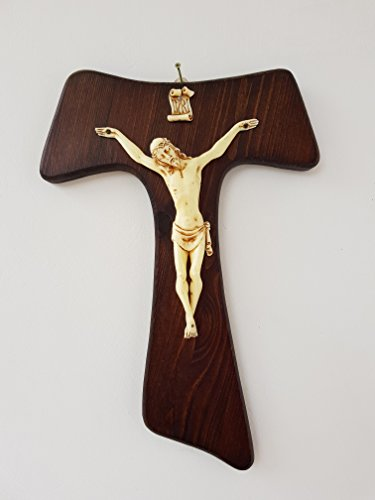 Kruzifix Wand Typ: Tau Kreuz in altem Holz mit Elfenbein Körper