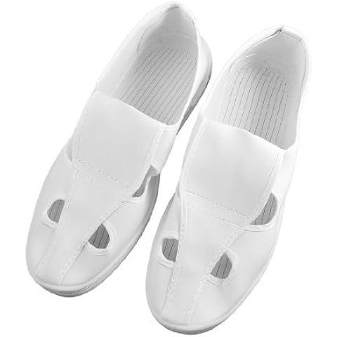 Sourcingmap - Hombres blancos de pvc antideslizante suela anti-estáticas zapatos esd sala limpia nosotros 9.5