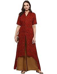 Ziyaa Women's Red Colour Flared Rayon Digital Print Kurta & Palazzo Set