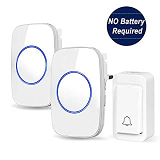 Self-Powered Wireless Doorbell, Plug in Door Bell 2 Receivers 1 Push Button Cordless, IP44 Waterproof Door Chime, 38 Ringtones, Loud 3 Levels Volume, No Battery Required