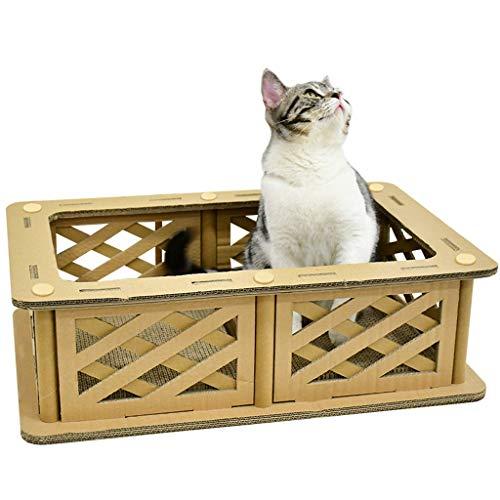 QBYLYF Kratzmatte Katzenteppich katzenkratzbrett Cat Scratcher Lounge House Katzenspielzeug Katze liefert Katzenstreu Rechteck mit Leitplanke um Katzenminze zu senden