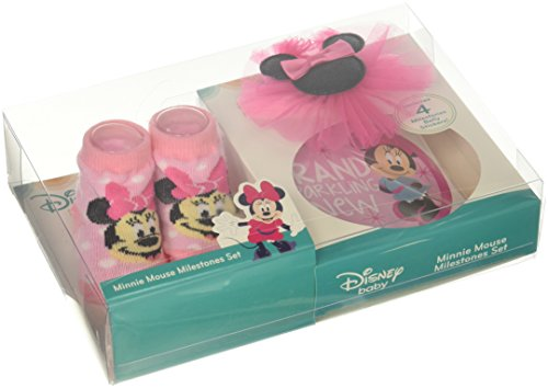 Disney Baby Girls Minnie Mouse Milestone Stickers Headwrap and Bootie Gift Set, Pink, 0-12M Baby Girl Bootie