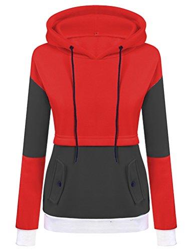 YuanDian Donna Autunno Inverno Casuale Sportivo Felpa Con Cappuccio Elegante Caldo Maniche Lunghe Hoodie Felpe Pullover Rosso + Grigio