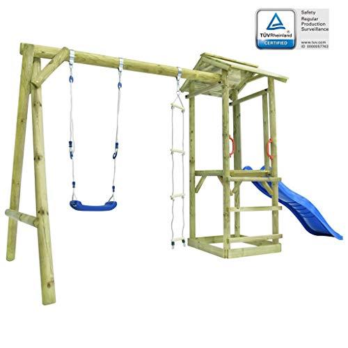 vidaXL Parque Infantil con Escalera, Tobogán y Columpio de Madera FSC Centro de Juegos Juguetes Niños Pequeños Exteriores Jardín Terraza Patio Balcón