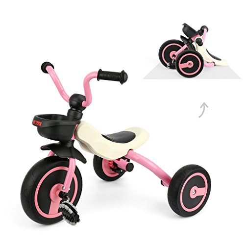 Fascol Kinder Dreirad Klapp Dreirad für Kinder ab 2-5 Jahre Kinderfahrzeuge mit Rutschfest Pedal, Rosa