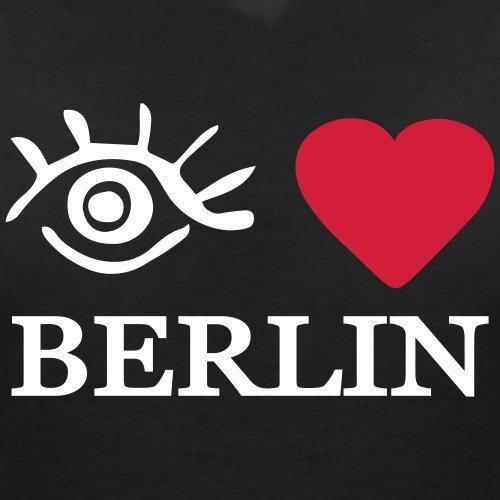 Eye-Love Berlin T-shirt col V Femme de Spreadshirt® Noir