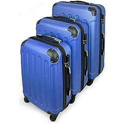 Todeco - Juego de Maletas, Equipajes de Viaje - Material: Plástico ABS - Tipo de Ruedas: 4 Ruedas de rotación de 360 ° - 51 61 71 cm, Azul, ABS, Esquinas protegidas