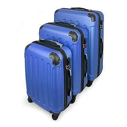 Todeco – Juego de Maletas, Equipajes de Viaje – Material: Plástico ABS – Tipo de ruedas: 4 ruedas de rotación de 360 ° – Esquinas protegidas, 51 61 71 cm, Azul, ABS