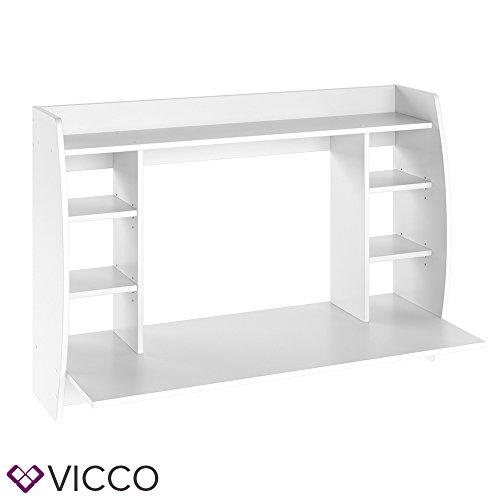 VICCO Wandschreibtisch MAX 110 cm - Schreibtisch Wandschrank Wandtisch Bürotisch Arbeitstisch für PC Computer - 3 Dekore (Weiß) - 4