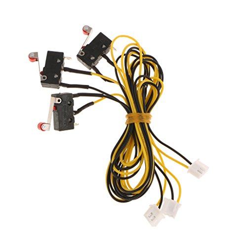 Sharplace 3x Mechanischer Mikro-Endschalter mit Anschlusskabel 3D Drucker Zubehörteil - gelb - 600mm (Mikro-drucker)