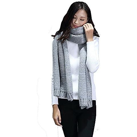 BBYE Bufanda de color sólido Mujer Invierno Estudiante Pareja Extra largo Espesamiento Mantener caliente Tejer Otoño Invierno ( Color : Gray