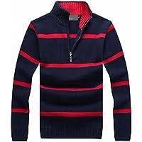Suéter casual de los hombres NUEVO cuello del soporte de la llegada a rayas de lana fina otoño invierno jerseys