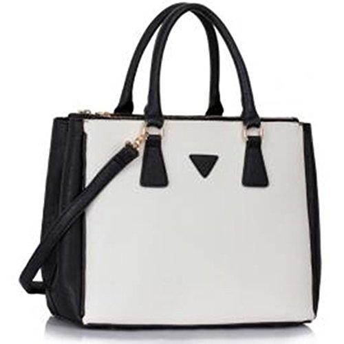 LeahWard Damen Großer Handtaschen 3 Fachtasche Für Frauen Umhängetaschen für Schulferien 00260 (Schwarz/Weiß Groß) (Weiß Handtasche Chloe)