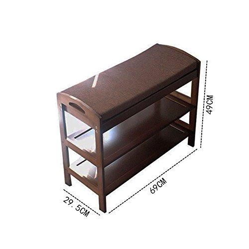 Schuhregal YNN 2-Tier Schuhschrank Bambus Schuh Bank Sofa Hocker mit Sitzkissen Speicherbank für Schlafzimmer Wohnzimmer Flur Eingang (Größe : 69*29.5*49cm) (Bank Schlafzimmer Nussbaum)