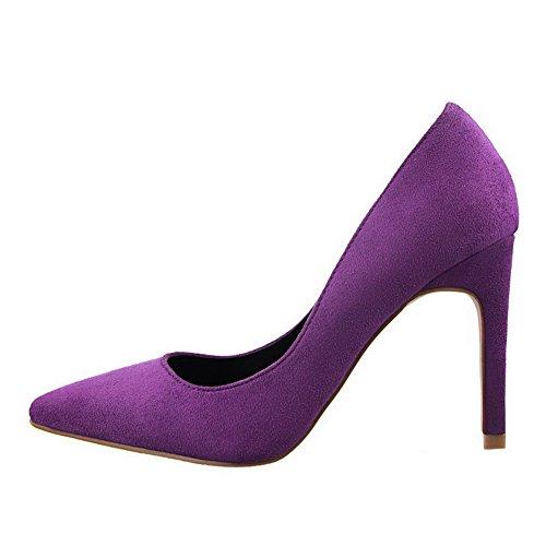 AllhqFashion Femme à Talon Haut Dépolissement Couleur Unie Tire Pointu Chaussures Légeres Violet