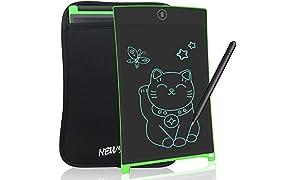 NEWYES Tablet da Scrittura LCD Portatile con Custodia, Lunghezza 8,5 Pollici, Vari Colori (Verde + Caso)