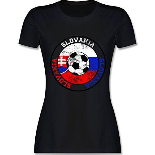 EM 2016 - Frankreich - Slovakia Kreis & Fußball Vintage - tailliertes Premium T-Shirt mit Rundhalsausschnitt für Damen Schwarz