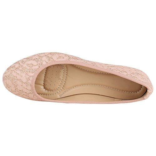 Klassische Damen Ballerinas Leder-Optik Flats Schuhe Übergrößen Flache Slipper Spitze Prints Strass Flandell Rosa Spitze Glitzer
