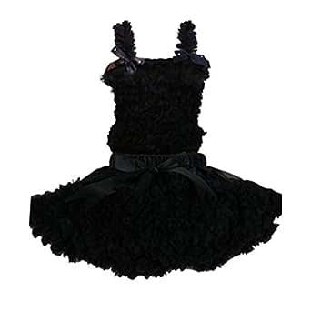 Buenos Ninos Girl's Pure Chiffon Dance Pettiskirt Tutu Set Black 1-2T