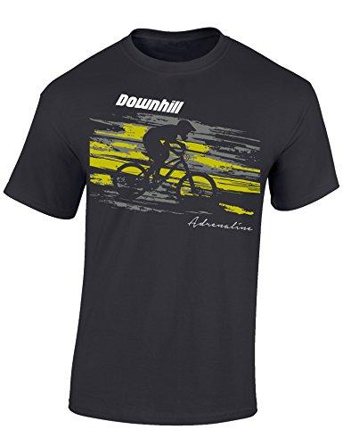 Baddery: Downhill Adrenaline- Fahrrad T-Shirt als Geschenk für alle Fahrradliebhaber - Geschenkidee (XXL)