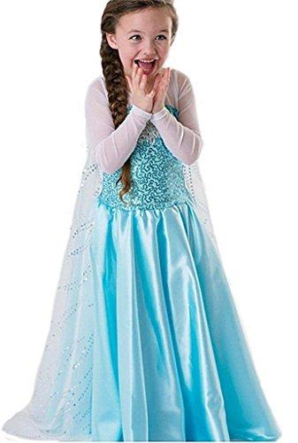 Princess classic fashion costume da ragazza, regina del ghiaccio/principessa delle nevi, con strascico–blu–misura: 120 (110-116)