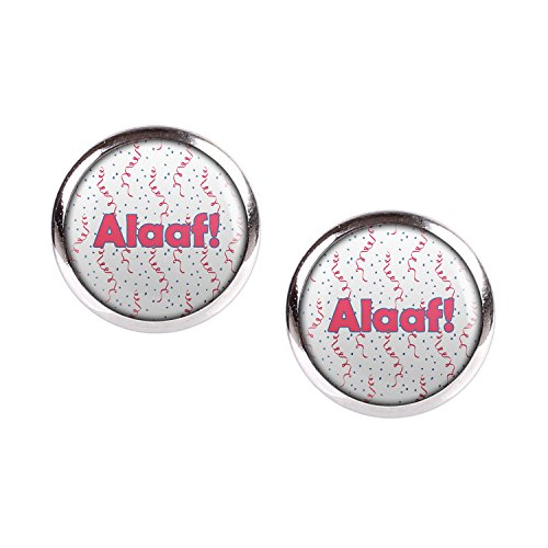 ar mit Motiv Alaaf Karneval Pink Blau Weiß Konfetti silber 12mm ()