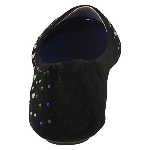 Mesdames Spot On Plat Ballerine/détails clous colorés Noir