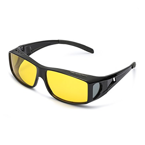 LVIOE übergroßen Nachtsichtbrille Autofahren für Brillenträger Gelbe Sonnenbrille über Brille Damen Herren Nachtsichtbrille Autofahren Polarisiert (Shwarz/gelb)