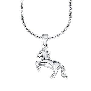 amor Mädchen-Halskette mit Pferdchen-Anhänger aus rhodiniertem 925er Sterling Silber