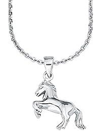 Amor Kinder-Kette mit Anhänger Pferd Mädchen 925 Sterlingsilber rhodiniert glänzend 35+3 cm 555890