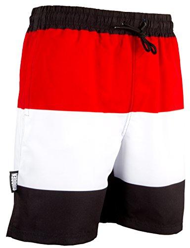 GUGGEN Mountain Herren Badeshorts Beachshorts Boardshorts Badehose Schwimmhose Männer mit Muster *Print* Schwarz Rot XL