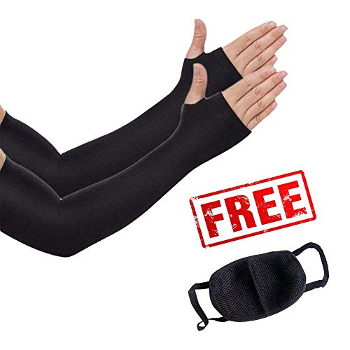 Vagary UV-Protection Arm Sleeves, Hand Socks for Men and Women (Unisex) Used for Driving,Hiking, Sports,Biking, Cycling (Black)