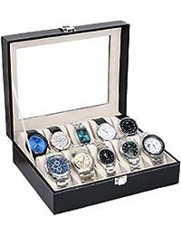 TOUA PU Leather 10 Slots Wrist Watch Display Box Storage Holder Organizer Watch Case Jewelry Dispay Watch Box (Black, 20 x 25 x 8 cm)