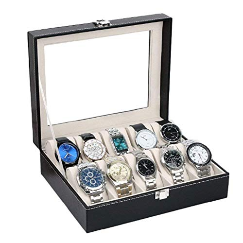 ORPIO (LABEL) PU Leather 10 Slots Wrist Watch Display Box Storage Holder Organizer Watch Case Jewelry Dispay Watch Box (Black, 20 x 25 x 8 cm)