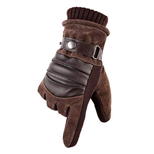 MUCO Winterhandschuhe Herren Warme Handschuhe Plus Velvet Touchscreen Texting Rutschfest Verstellbarer Handgelenkriemen Herrengröße Schwarz und Braun, Glr-02, Einheitsgröße