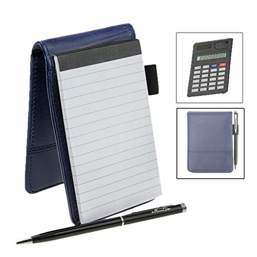 Notizblock A7 Leder mit Taschenrechner klein 30 Blätte Schreibblock Hardcover Notizbuch für Büro...