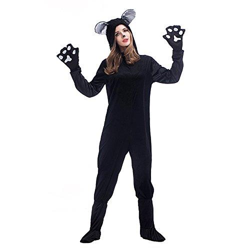 Kostüm Jumpsuit Katze - FUMAN Tier Kostüm Schwarze Katze Jumpsuit Tier Schlafanzug Erwachsene Unisex Fasching Cosplay Karneval Damen S