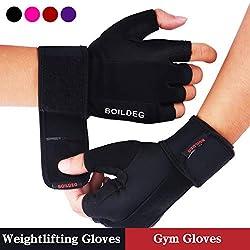 Fitness gloves, training gloves, weight lifting gloves for bodybuilding crossfit, women & men (BLACK, L)