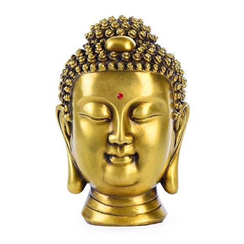 (DECORATION Reine Kupferstatue, Geschlossene Augen Und Lächeln Buddha-kopfskulptur, Glückliche Dekorationen, Desktop-studiensammlung, Heimtextilien, Feng Shui Kunsthandwerk (11 X 11 X 17,5 cm))