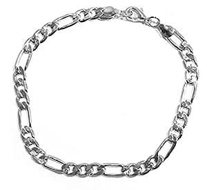 Bracelet Fantaisie en Métal Argenté pour Homme - Maille Gourmette - 23 cm
