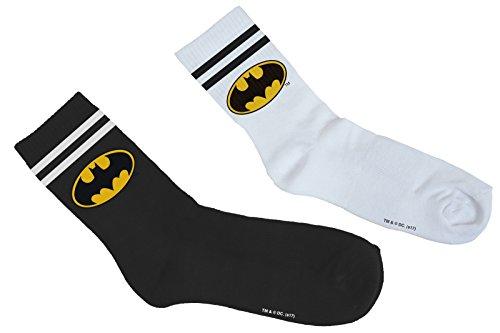 MERCHCODE Batman Double Pack Socken, Black/White, 39-42