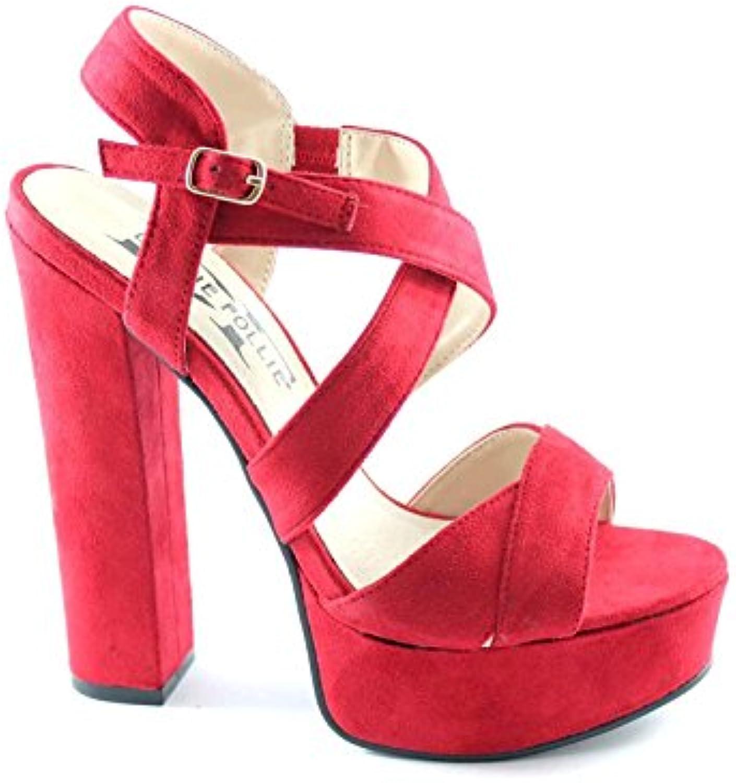 Divine Follie Divina WS1785 Follie Rojo Sandalias de Tacón de Color Rojo mesetas de Cruce