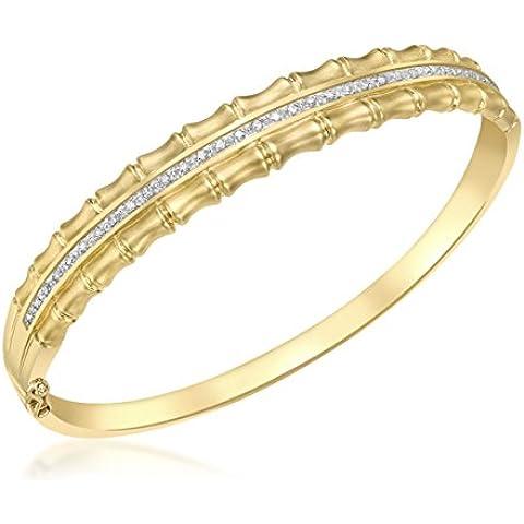 Carissima-Bracciale in oro giallo 9 kt, con diamante 0,30 ct-Bracciale rigido, in bambù