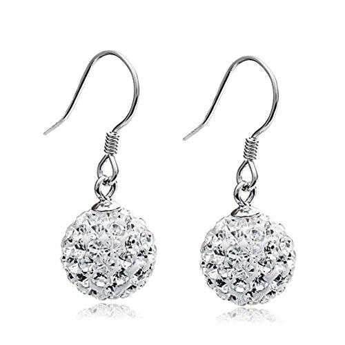 Ohrhänger 925 Sterling Silber 10mm Kristall Ball Tropfen Anhänger Ohrringe Modeschmuck Für Frauen Mädchen ()